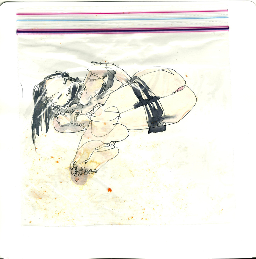 SUPERDAIMOS, Bound and bagged, Watercolor, sumi ink and a sandwich bag, 20.2 x 20.2 cm, CHF 76.25
