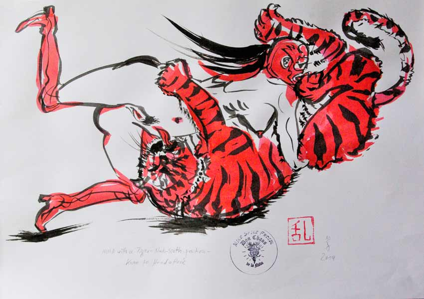 MIKE SPIKE FROIDL, MMA with a Tiger: North-South-Position-Knee to Head Attack, Schwarz-Rot Tuschzeichnungen, 41 x 58.8 cm, 2019, ohne Rahmen, Preis: CHF 360.- SOLD